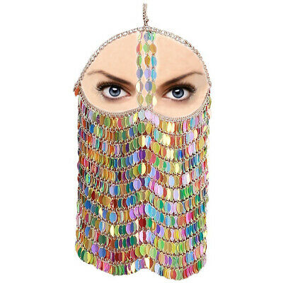 Colorful Leaves Mask Belly Dance Face Mask BDSM Fetish Veil Indian Head Chain