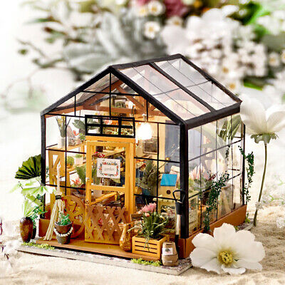 Robotime DIY Wooden Dollhouse Kits Miniature Furniture LED Cathy's Flower House