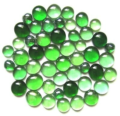 50 x Shades of Tropical Rainforest Green Glass Mosaic Gem Stones Assorted Sizes