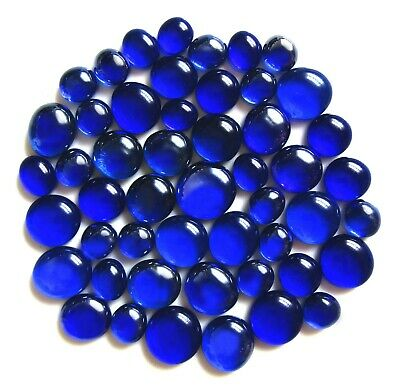 50 x Shades of Deep Mediterranean Blue Glass Mosaic Pebble Stones Various Sizes