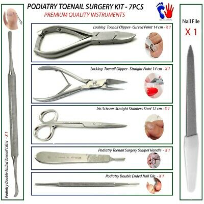 Chiropody Toenail Ingrown Surgery Removal Tool Kit Premium Podiatry Tools 7PCS