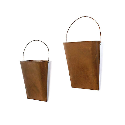 GRILA Rustic Hanging Bucket Planter Set 2 – Metal Rusty French Provincial Bucket
