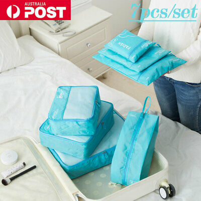 7pcs Travel Storage Bags Luggage Clothes Packing Cubes Organiser Waterproof AU