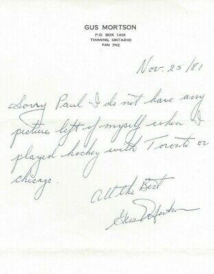 1981 Gus Mortson Signed Personal letter NHL Toronto Chicago