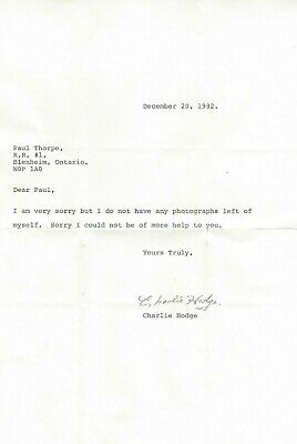 1982 Charlie Hodge Signed Personal letter NHL Montreal Vancouver Oakland Dec.