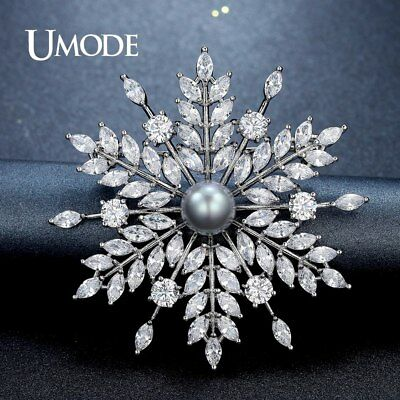 UMODE New Pearl Brooch Jewelry for Women Large Rhinestone Crystal Flower