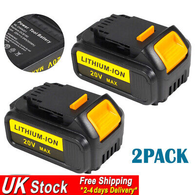 2x 18V 4.0Ah Li-ion Battery for DEWALT 18Volt XR DCB184 DCB182 DCB181 DCB180 4Ah