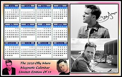 Olly Murs, 2020 Autographed, A4 MAGNETIC CALENDAR. Limited Edition (OM-1)