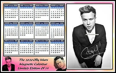 Olly Murs, 2020 Autographed, A4 MAGNETIC CALENDAR. Limited Edition (OM-2)