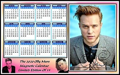 Olly Murs, 2020 Autographed, A4 MAGNETIC CALENDAR. Limited Edition (OM-4)