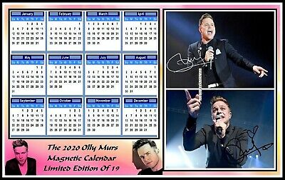 Olly Murs, 2020 Autographed, A4 MAGNETIC CALENDAR. Limited Edition (OM-5)