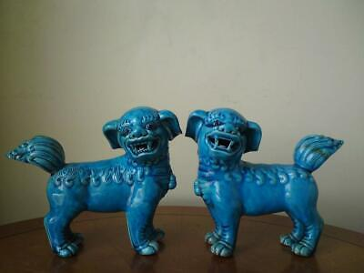 Pair signed Chinese monochrome blue turquoise glazed lion dog standing figurine