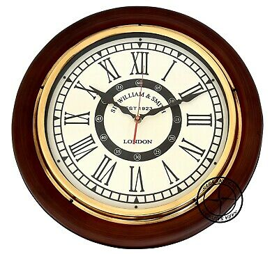 Vintage Style Brass Wooden Wall SIR WILLIAM & SMITH Clock Wall Decor Nautical