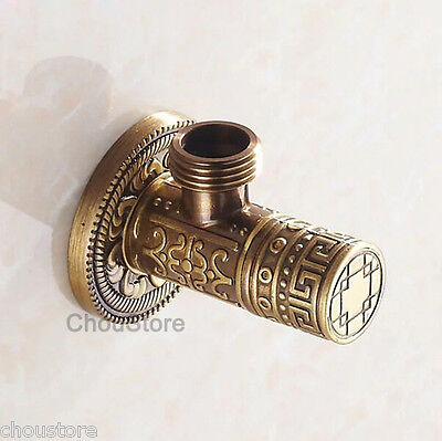 Solid Antique Bronze Art Carved Angle Valve Bathroom Faucet Water Check Valve