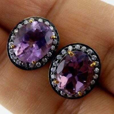 Antique Style 925 Sterling Silver Amethyst Crystal Round Stud Earrings Vintage
