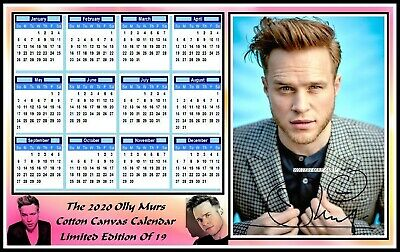 Olly Murs, 2020, A4 Signed, Cotton Canvas CALENDAR. Limited Edition (OM-3)