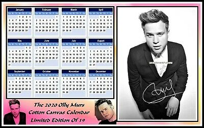 Olly Murs, 2020, A4 Signed, Cotton Canvas CALENDAR. Limited Edition (OM-5)