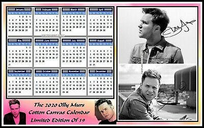 Olly Murs, 2020, A4 Signed, Cotton Canvas CALENDAR. Limited Edition (OM-6)