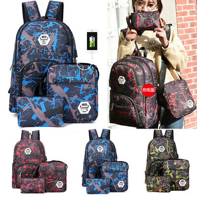 Anti-theft Waterproof Backpack USB Port School Laptop Travel Shoulder Bag Mens
