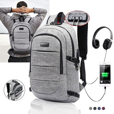 Laptop College Student Business Travel Backpack Anti Theft USB Charging Port