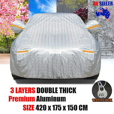 Aluminium Waterproof Car Cover Double Thicker Rain Resistant UV Dust Protection