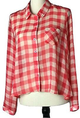 Free People Womens Blouse Red Pink White Semi Gingham Sheer Top Size S/P