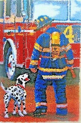 "Herschners Latch Hook Rug making Kit   ""FIREFIGHTER"" Free UK postage"