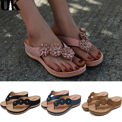 Women PU Wedge Flower Sandals Lady Summer Beach Casual Thong Flip Flops Slippers