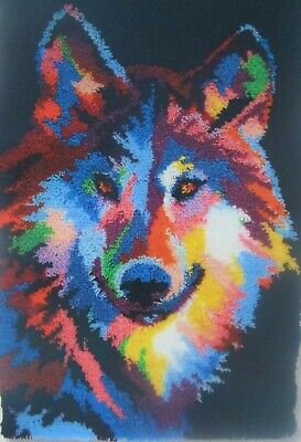 Herschners Animal Latch Hook Rug Kit  Abstract Wolf""