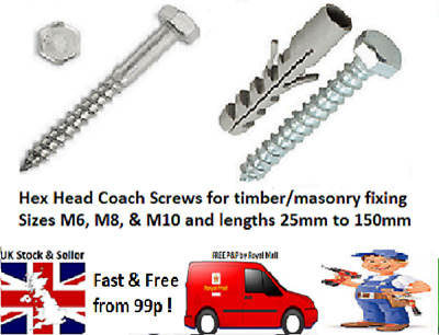 M6 M8 M10 COACH SCREW A2 STAINLESS HEX HEAD WOOD SCREWS BOLT STEEL DIN571 TIMBER