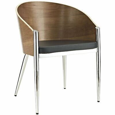 Mid-Century Kitchen Dining Chair Faux Leather Upholstered Walnut Barrel Back