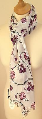 New 100% Cotton Women's Mackintosh Style Pink Roses Print Scarf By Juniper