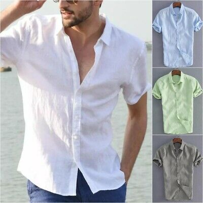UK Mens Cotton Short Sleeve Summer Solid Shirts Casual Loose Dress Soft Tops Tee