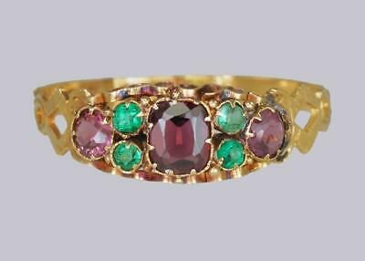 Antique 18ct Gold Amethyst & Emerald English Ornate Mid Victorian Ring ca.1870