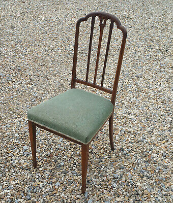Fine Antique Edwardian Maghogany Chair Tapered Spade Feet satinwood Inlay