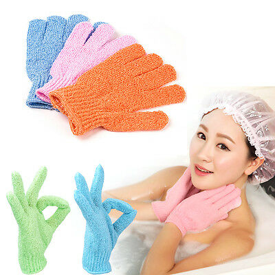 2X Exfoliating Body Scrub Gloves Shower Bath Mitt Loofah Skin Massage-Sponge