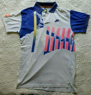 NIKE AGASSI Challenge Court Vintage Shirt Polo Maglia Jersey