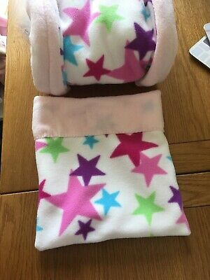 FLEECE SNUGGLE POUCH & TUNNEL WIDER Guinea Pig / African Pygmy Hedgehog Bed Star