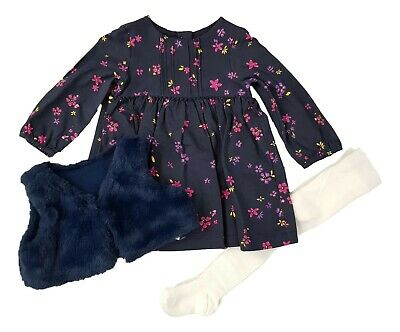 Ex Store Girls Floral Navy Blue Dress Tights & Fur Gilet Outfit 6 9 12 18 24 £18