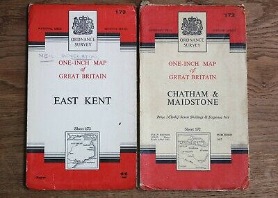 Ordnance Survey Maps SOUTH EAST 1 Inch to 1 Mile Vintage OS Map Kent Canterbury