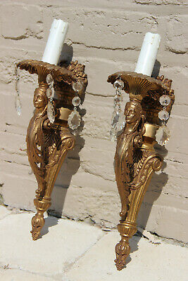 PAIR vintage French brass Caryatid figurine  Wall lights sconces crystal glass