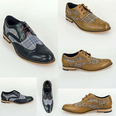 Cavani Ethan Tan Leather Brogues Shoes with Navy Suede Inset Priced to clear £29