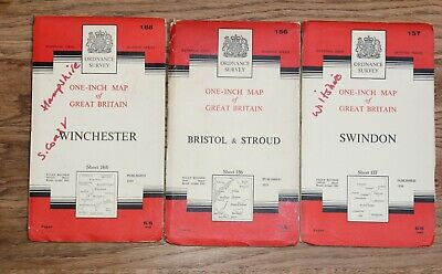 Ordnance Survey Maps SOUTH WEST 1 Inch to 1 Mile Vintage OS Map Wiltshire Stroud