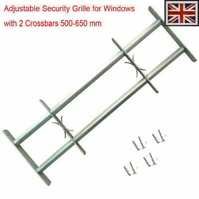 Adjustable Security Grille Windows with 2 Crossbars 500-650mm Protector Steel