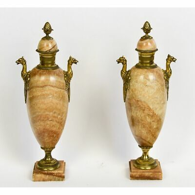 Pair French 19th century Quartz & Bronze Ormolu Griffin Empire Urns Cassolettes