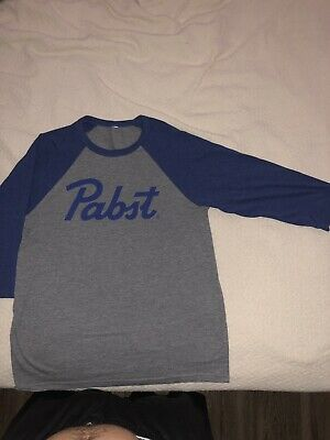 Vintage Pabst Blue Ribbon PBR Men's Baseball Tee Heather Gray Blue Fitted