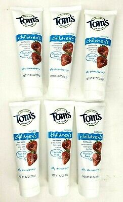 6 Pack Tom's of Maine Fluoride Free Children's Toothpaste Silly Strawberry 4.2oz