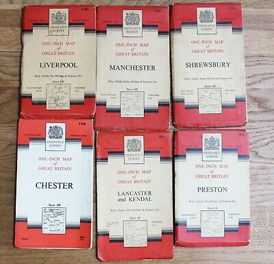 Ordnance Survey Maps NORTH WEST 1 In to 1 Mile Vintage OS Map Lancashire Chester
