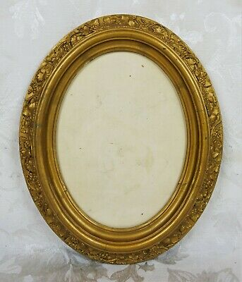 "Vintage Baroque Style Oval Wooden Frame Floral Gold Gilt Gesso Fits 8.5"" x 6.5"""