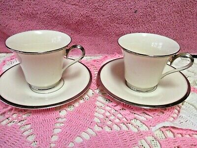 "Lenox Solitaire Cup Saucer Sets 3"" Ivory Platinum Edge USA 2 Sets Perfect"